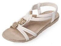 BRAND NEW Ladies Bohemian Roman Bead Style Peep Toe Sandals size 5-6: £8 ono (RRP: £19.99)
