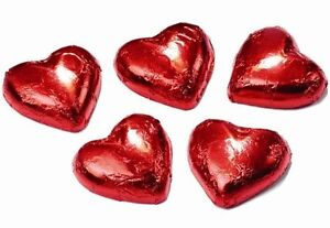 100 Red Chocolate Foil Hearts- Wedding Favours Bomboniere Quality Chocolate