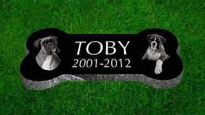 "Personalized Pet Dog Bone Stone Memorial Engraved Headstone 6""x12"" Pomeranian"