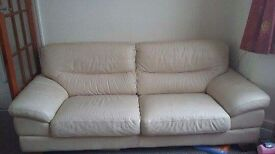 Cream leather 2 and 3 seater sofas