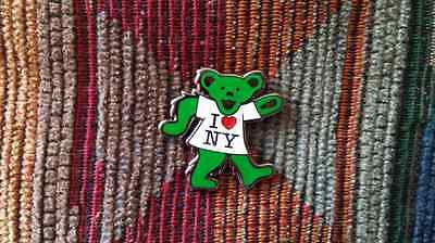 Dead Head I Love New York Green Dancing Bear Enamel Lapel Hat Pin