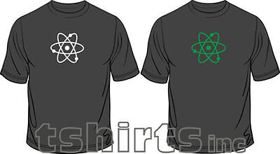 Atom Glow In The Dark Science Geek Funny Mens Loose Fit Cotton T-Shirt  ()