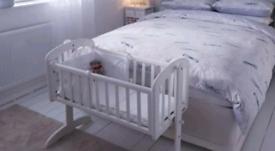 White Wooden John Lewis Swinging Crib