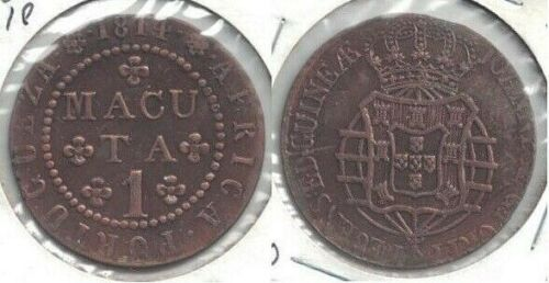 1814 Portuguese Angola 1 Macuta Copper Coin in Choice XF to AU Condition - KM#46
