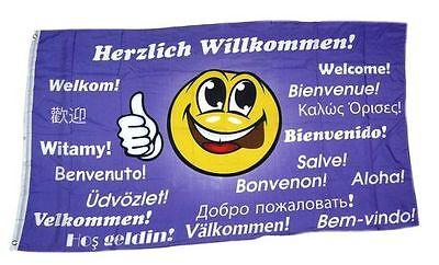 Flagge / Fahne Herzlich Willkommen Smile Hissflagge 90 x 150 cm