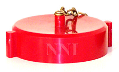 3 Od Fire Hose Valve Hydrant Standpipe Cap Chain Red Polycarbonate