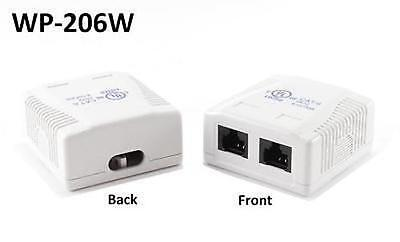 2-Port Cat6 Surface Mount Box with 110 Type RJ45 Jacks, CablesOnline WP-206W