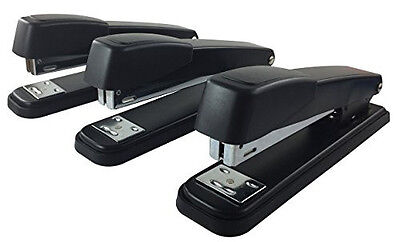 Clipco Stapler With 2000 Staples Full Desk Size Black 3-pack