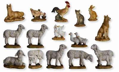 Krippenfiguren Tiere Hoftiere mit Schafen 15 teilig für Figuren 11-13 cm ()