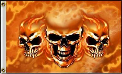 TRIPLE SKULLS WITH FIRE DELUXE 3X5 FLAG FL535 flames biker skull skeleton hot ne