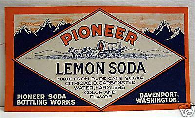 Pioneer Lemon Soda Old Soda Label Davenport Washington