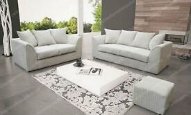 Brand New 3+2 CREAM Jumbo Cord Sofa With Foam Filled Cushions... ONLY 279.99