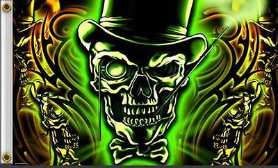 DELUXE GLOWING GREEN SKULL TOP HAT  3 X 5 FLAG FL384 bikers item LARGE 3X5 NEW