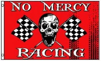 No Mercy Racing Pirate Flag Skull with Checkered Flags 3 x 5 Foot Race Banner (Checker Flags)