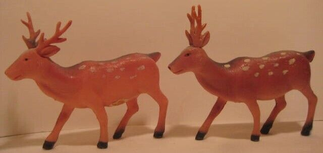 Old Pair 1930s Celluloid Spotted Christmas Reindeer w/ Antlers for Santa Sleigh