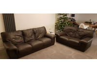 Brown leather sofa - 3 & 2 seater