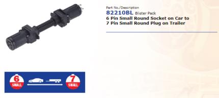 Trailer Connector - 6 Pin Small Socket to 7 Pin Small Plug