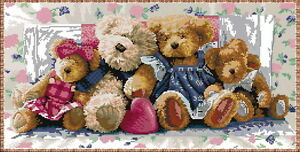 14 count aida needlepoint cross stitch teddy bears kit with colorful chart KA019