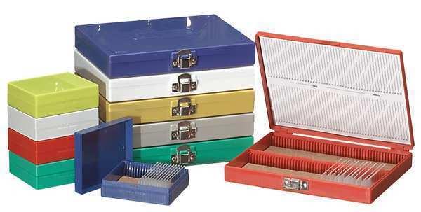 ZORO SELECT 880120 Microscope Slide Box,100 Slots,White