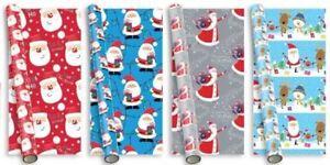 4 x 5m Cute Christmas Gift Wrap Wrapping Paper Roll Xmas Santa Snowman Rudolf