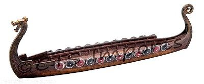 Viking Longship Boat Replica Model 11 Inches Dragon Head Incense Burner FREE S&H