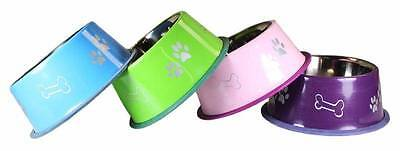 (Stainless Steel Pet Bowl OmniPet Non-tip 32oz Pink Purple Or Blue)