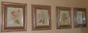 Flower Picture Frames in Glass set of 4