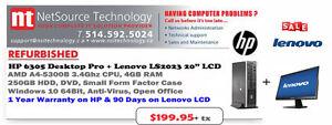 "PC HP 6305 SFF / CPU 3.4Ghz / 4GB RAM + LCD 20"" & Garantie 1An"