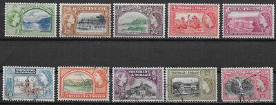 TRINIDAD & TOBAGO , 1953, ELIZABETH II , SET OF 10 STAMP , PERF , MNH/VLH/USED