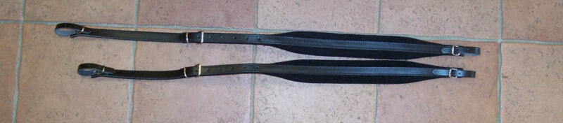 Pair Of Shoulder Straps Belts Accordion Leather Padded Velvet Width 1 13/16in