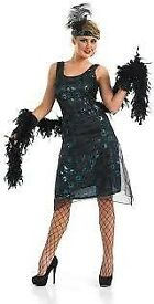 ROARING 20s BLACK FANCY DRESS OUTFIT SIZE XS CHRISTMAS OR NEW YEAR PARTY