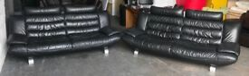 DFS Black Leather Two 3 Seater Sofas .CAN DELIVER