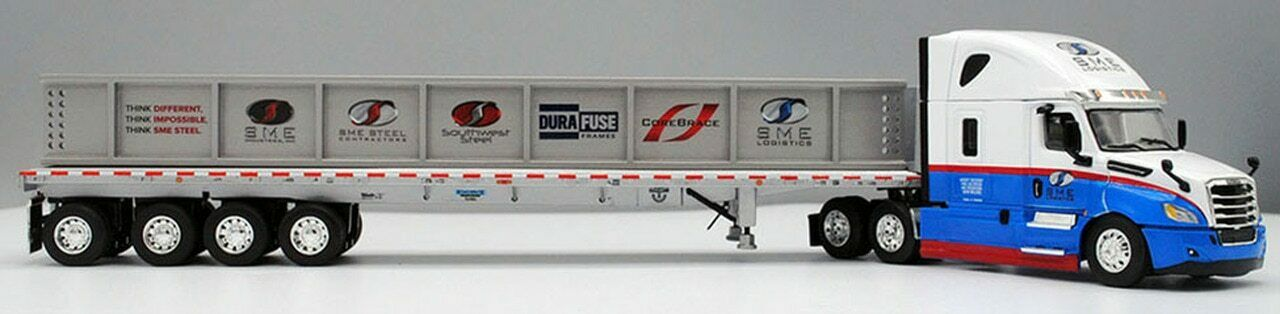 DCP First Gear 1/64 Freightliner Cascadia w/ Flatbed SME Logistics I-Beam Load