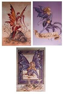 AMY BROWN ~ MISCHIEF 3 POSTER SET 24x36 FANTAST ART LOT FAIRY FAIRIES NEW/ROLLED