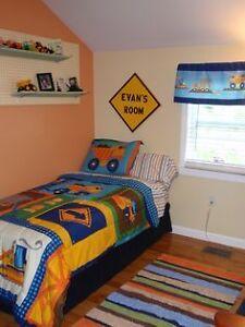 Boys twin size trucks comforter/sheet/throw pillow $50