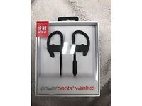 Brand new, unused, black beatsbydre powerbeats 3 wireless headphones, in box, 12 hour battery life