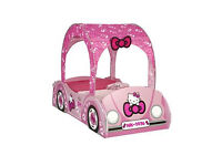 Hello Kitty Toddler Car Bed with Canvas and Mattress. Very good condition hardly used.