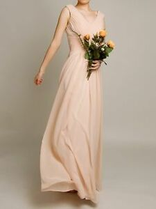 V-neckline Chiffon Long Bridesmaid Dress by Tulle & Chantilly