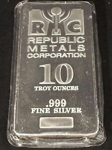 10 oz RMC silver/argent bar old style vintage sealed (.999)