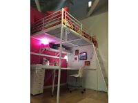 Ikea Tromso Loft Bed - Double, White with Mattress