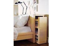 IKEA Malm bedside / headboard storage pullout storage unit oak finish double