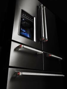 Looking for sratch and dent or new GE Fridge and stove black