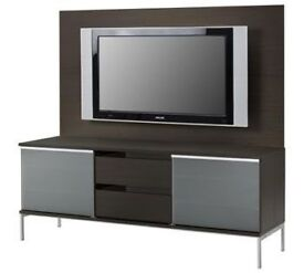 IKEA TOBO TV UNIT WITH TEMPERED GLASS DOORS & FLAT SCREEN MOUNTING BOARD BARGAIN : NOW SOLD