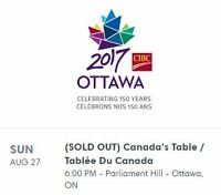 Accepting Offers for Two (2) Tickets to Canada's Table