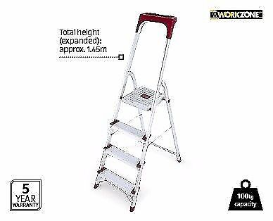 4 STEP HOUSEHOLD LADDER with work tray Supports up to 150KG
