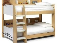 Single 3ft Bunk Bed In Maple And White (BUILT Julian Bowen Domino)