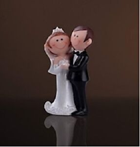 Bride & Groom Figurine Wedding Cake Topper - H4""