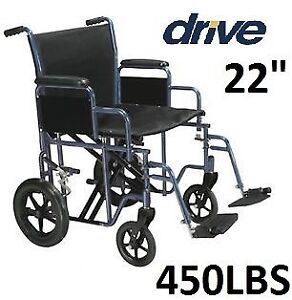 "NEW DRIVE BARIATRIC STEEL 22"" SEAT HEAVY DUTY TRANSPORT BLUE"