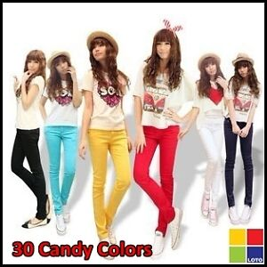 Ladies Sexy Candy Colors Pencil Pants Skinny slim Stretch Jeans Pants Size 25-32