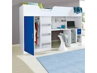 High Bed White with blue Door and Drawer